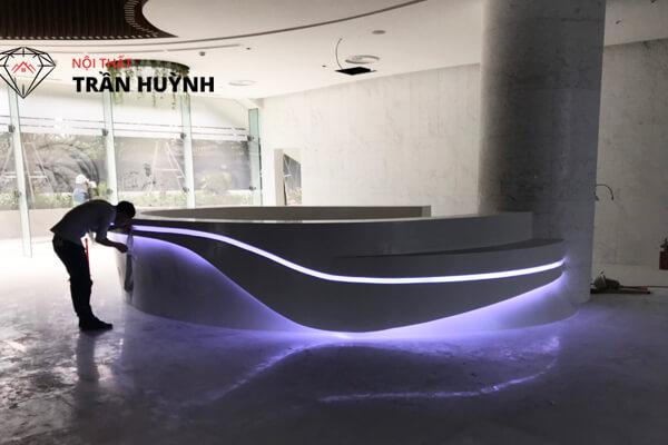 dự án quầy lễ tân đá nhân tạo Solid Surface