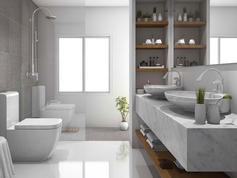 Đá nhân tạo ốp mặt lavabo phong cách nội thất tối giản