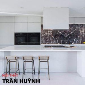 Đảo bếp kết hợp bàn ăn đá nhân tạo solid surface